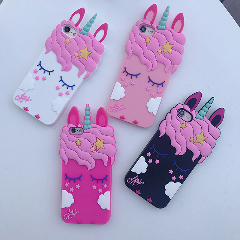 3D Cute Cartoon Unicorn Horse Pink Case For iPhone 6 6s 7 8 Plus X Soft Silicone Rubber Cover for iPhone 6Plus X Phone