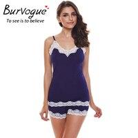 Burvogue Women Sexy Pajama Sets Camisole Cotton Pajamas Shorts Set Sleepwear Lace 2 Piece Set Sleeveless