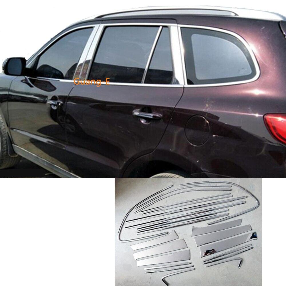 Car Styling Stick Window Garnish Pillar Window Middle Strip Trim For Hyundai Santafe Santa Fe 2006 2007 2008 2009 2010 2011 2012