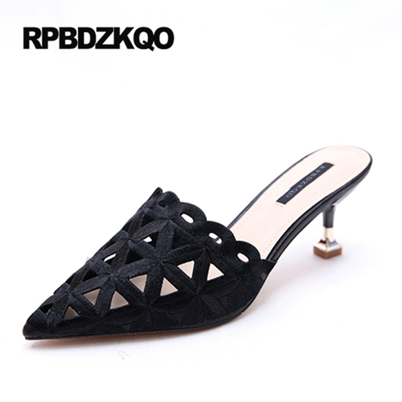 Small Size Sandals Ladies High Heels Slipper Black Pumps Pointed Toe Stiletto Mules Footwear 4 34 Casual 2017 Shoes Summer Slip pointed toe slip on high heels strappy 2017 chic size 4 34 black ladies kitten sandals medium fashion low summer shoes slingback page 7