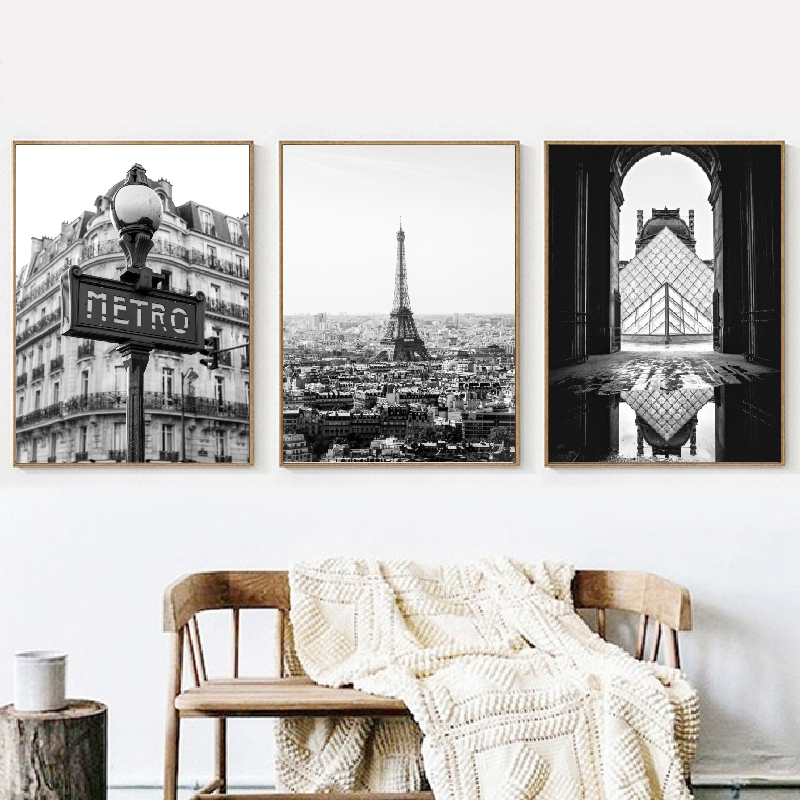 Paris Photography Prints Black And White Posters Eiffel Tower Home Wall Art Pictures Canvas Painting Paris Gallery Wall Decor