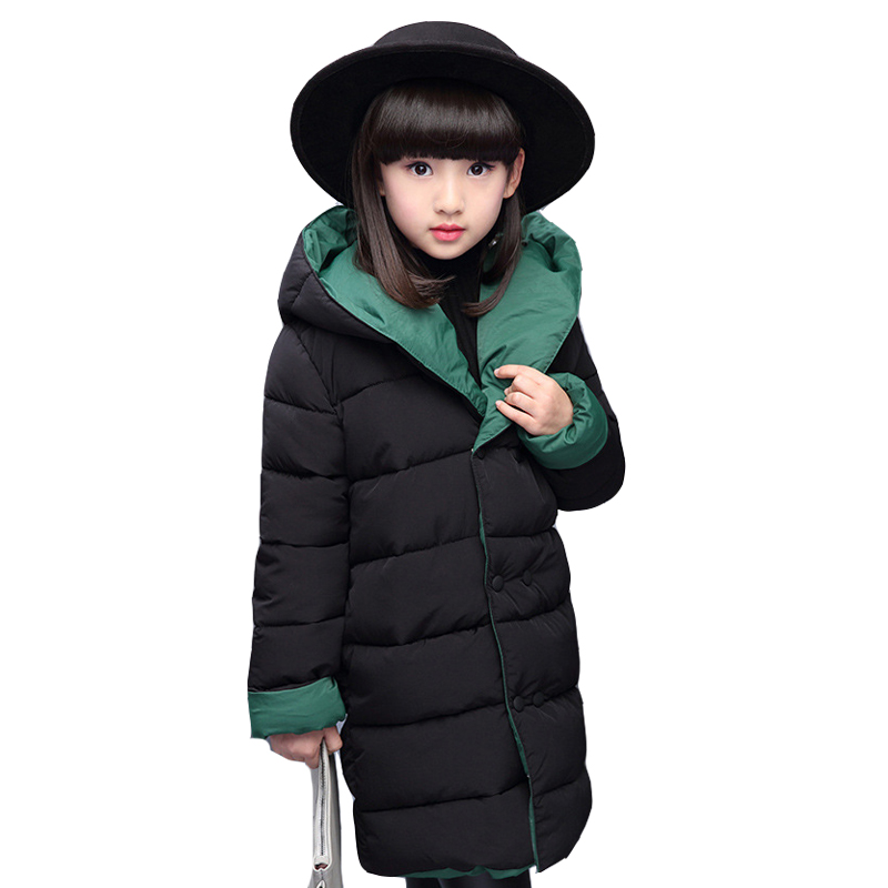 Girls Parkas Cotton-Padded Winter Jackets For Girls Children Reversible Thicken Warm Coats Long Students Hooded Outerwear 2-12Y baby girls parkas 2017 winter thick outerwear casual coats children clothing kids clothes solid thicken cotton padded warm coat