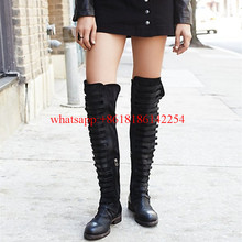 font b Women b font Flats Knee High Boots the Old Style Suede Boots Female