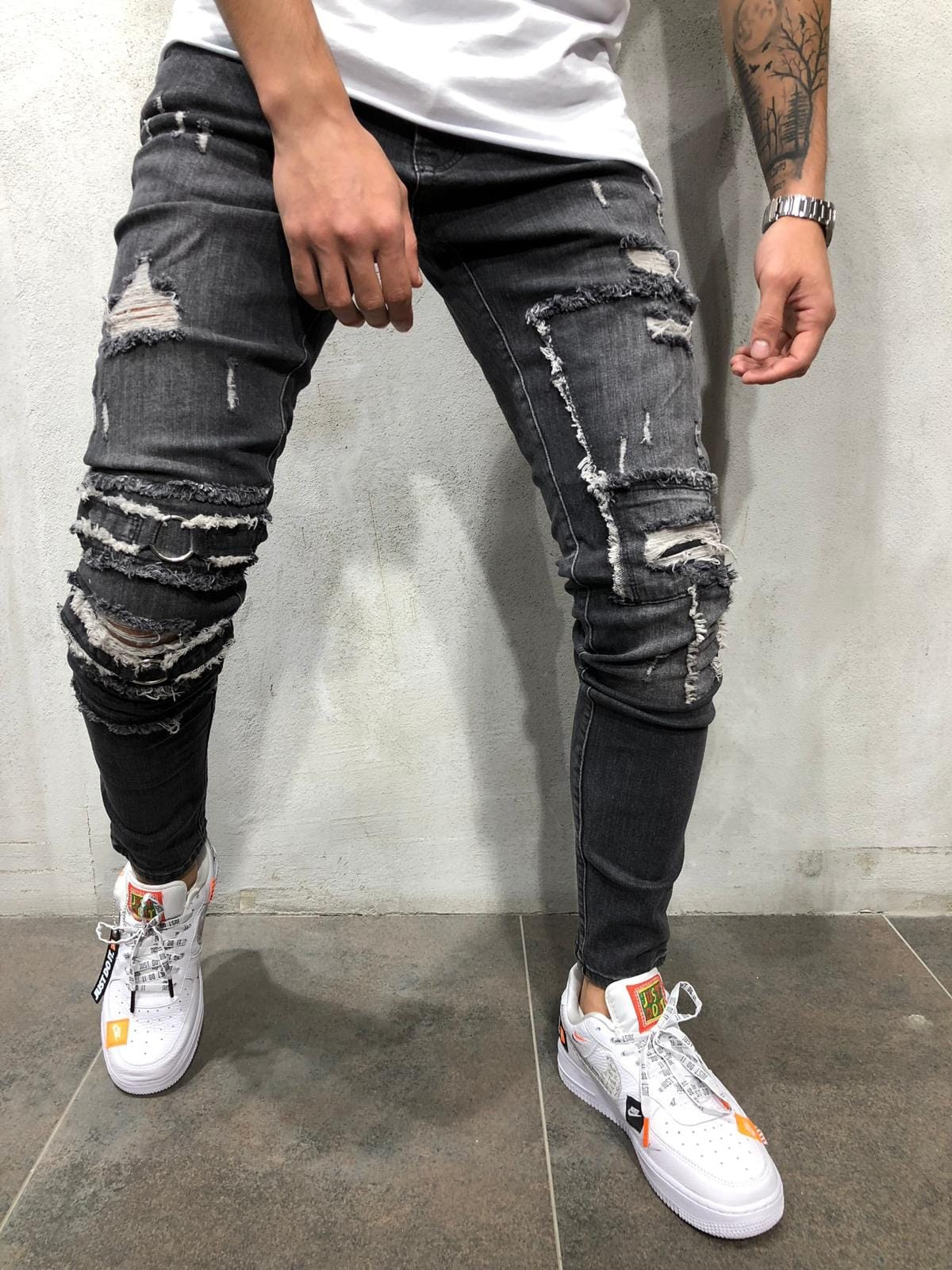 Trendy Men's Ripped   Jeans   Distressed Skinny Slim Fit Denim Pants Destroyed Frayed Trousers Fashion Design Side Stripe Black   Jean