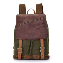 Vintage Leather +Washed Cotton Canvas Men Laptop Backpack Multifuntion Travel School Bag with High Quality