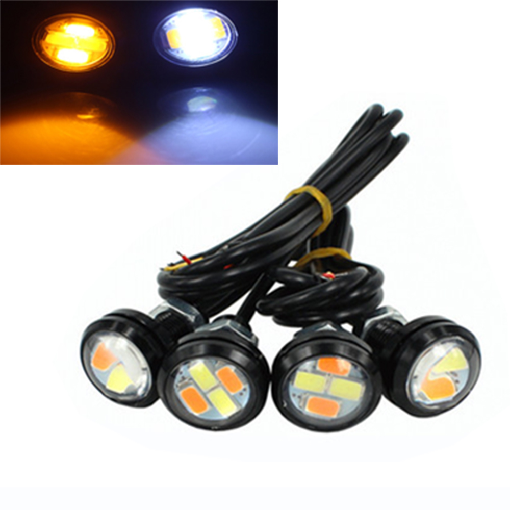 Car Lights Ysy 10pcs/5pairs Drl 5730 4smd 23mm White Amber Dual Color Led Light Turn Signal Light 12v Can Be Repeatedly Remolded.