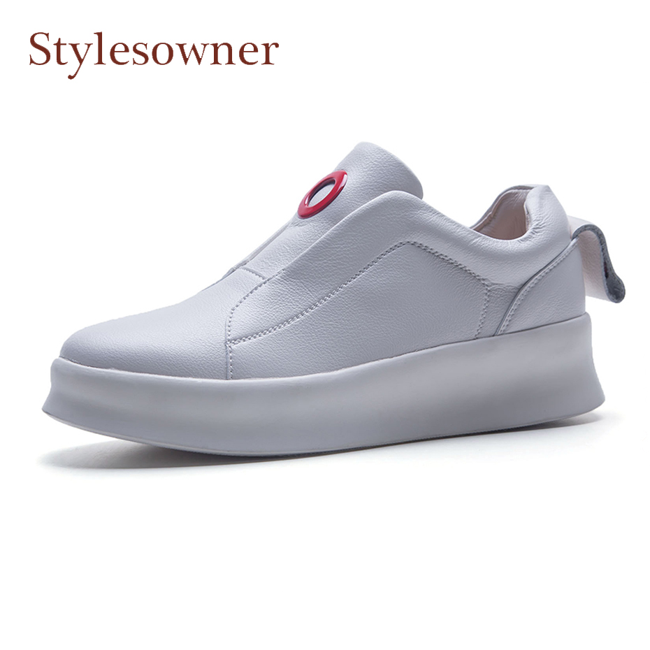 Stylesowner white casual loafers shoes for women round toe thick heel cow leather slip on shoes red round ring decor muffin shoe цена 2017