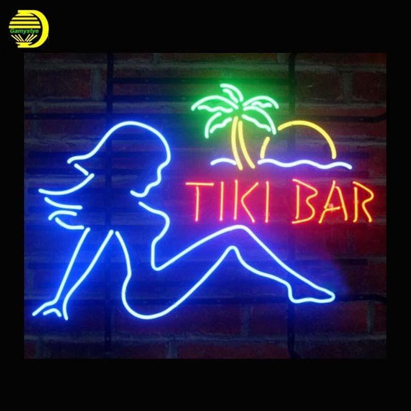 Tiki Bar Flap Girl Palm Tree Neon Sign Glass Tube Neon Bulb Sign Beer Bar lighted Lamp vintage Handcraft light up for sale 24x20