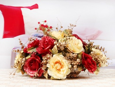 Искусственный цветок набор, искусственный цветок украшение, Шелковый цветок розы украшение стола. Рождественские украшения для дома - 4