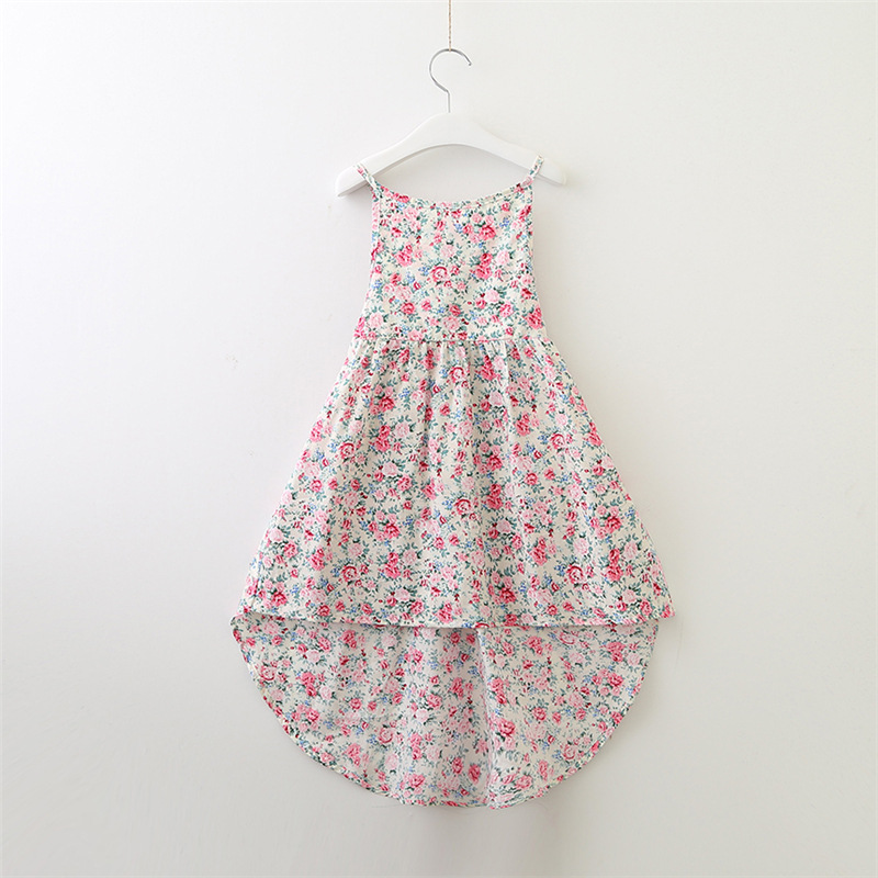 все цены на Summer Floral Girls Clothes Sleeveless Cotton Trumpet Pattern Girls Dresses Fashion Floral Backless Kids Girls Clothing