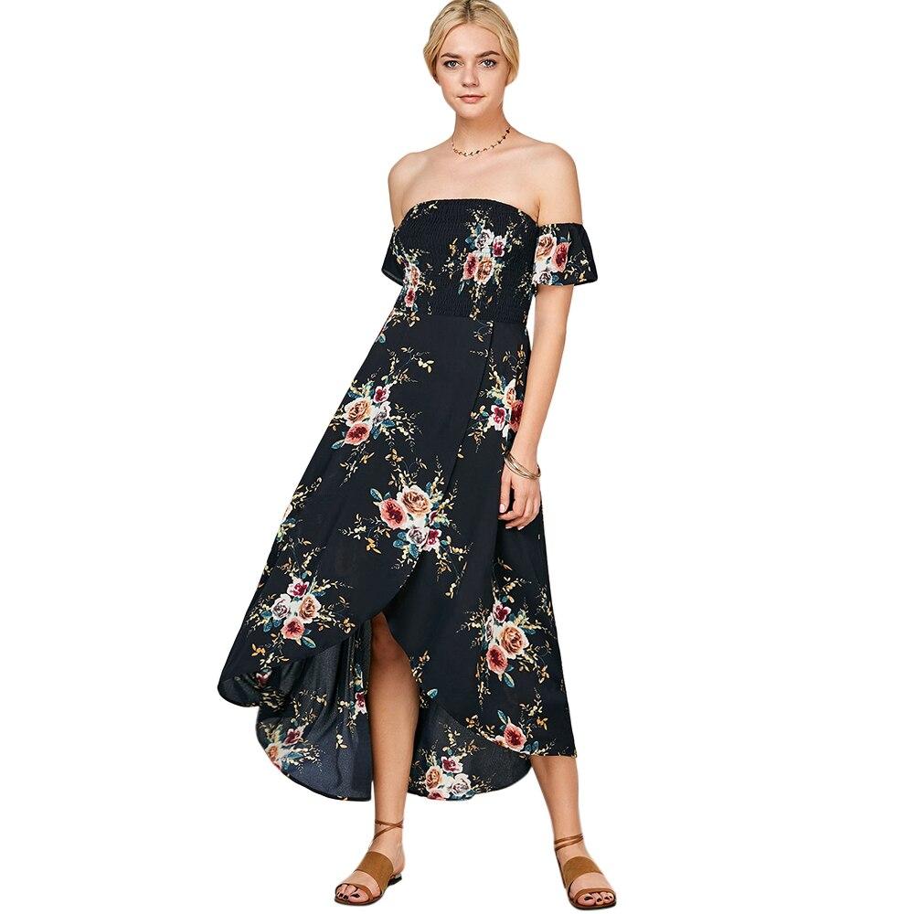 7301c071c9b29d ZAFUL Floral Print Smocked Off The Shoulder Dress Bohemian Women Summer  Split Maxi Dress Tight Bust Beach Long Vestidos de festa