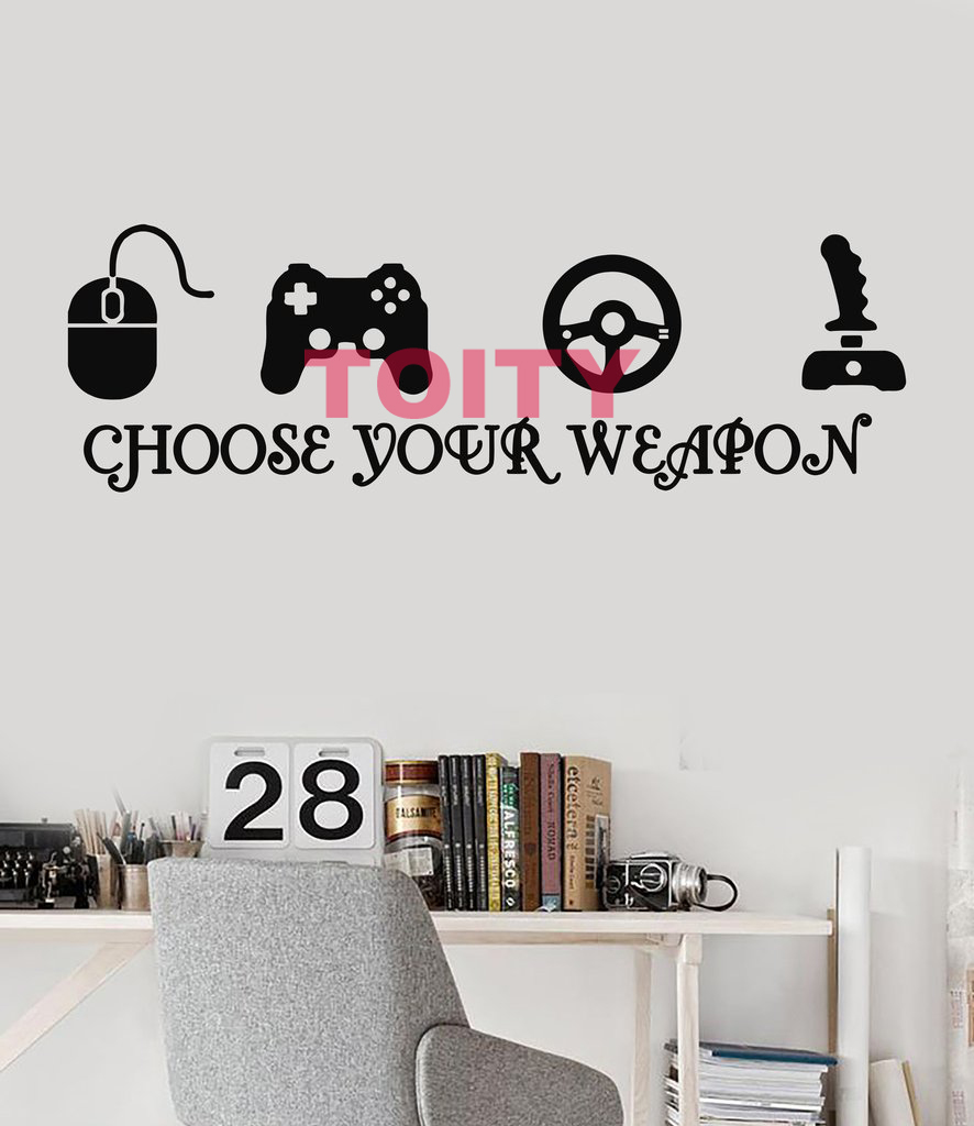 Choose Your Weapon Joystick Gamer Art Vinyl Wall Decor Decal TV/Video Game Play Room eSports Wall Sticker H57xW178cm/22.5x70