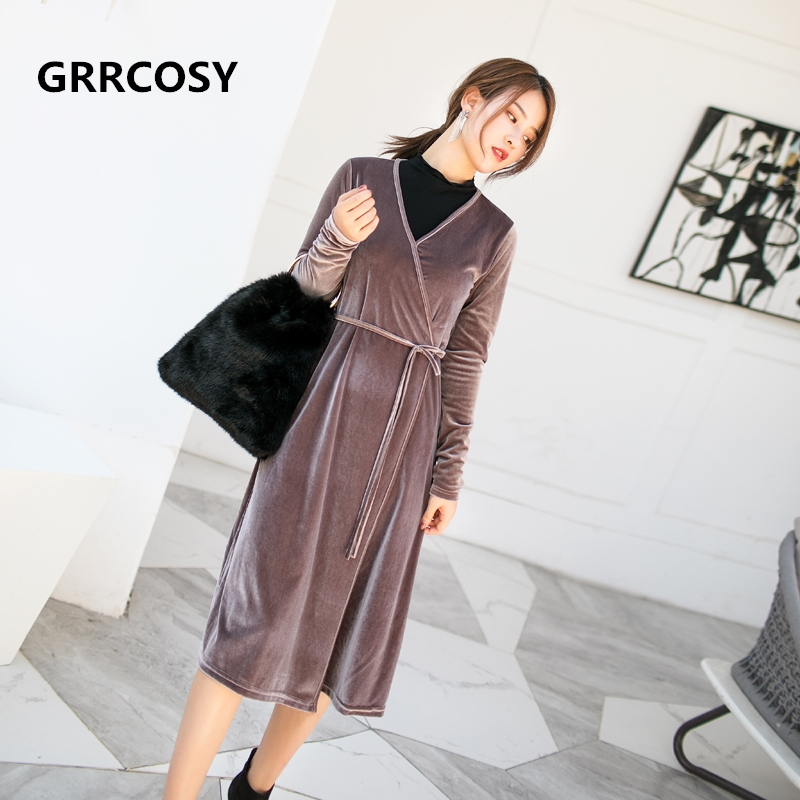 GRRCOSY Velour Maternity Breastfeeding Dress Autumn Velvet V-Neck Wrap Medium and Long Dress Pregnant Woman Cloth