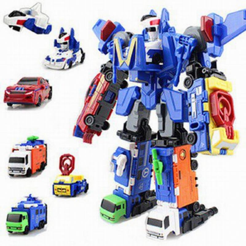 6 in 1 Truck Deformation Robot Car Action figure Model Toys Boys Gift Transformation Robots Toys Children Present For Christmas mini robot deformation toys car model action figure gifts for children classic toy robocar transformation brinquedos page 6