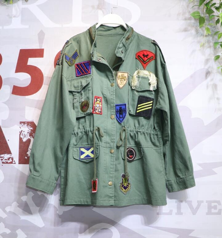 New Fashion Army Green Uniform Coat Women Bf Heavy Patch Badge Beaded Drawstring Waist Working Windbreaker Black   Trench   Coat