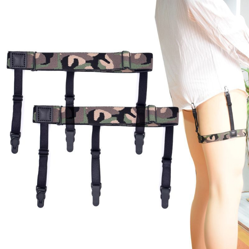 2018 Hot Men Camouflage Adjustable Elastic Shirt Stays Holder Garters Strap Suspender New Fashion 1 Pair Men Shirt Suspender