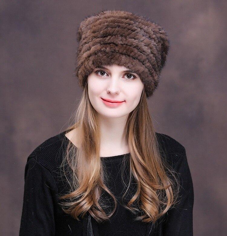 Veydu Fashion Winter Women Mink Hat Fur Warm Ears Mink Knitted Genuine Fur Cap for Lady