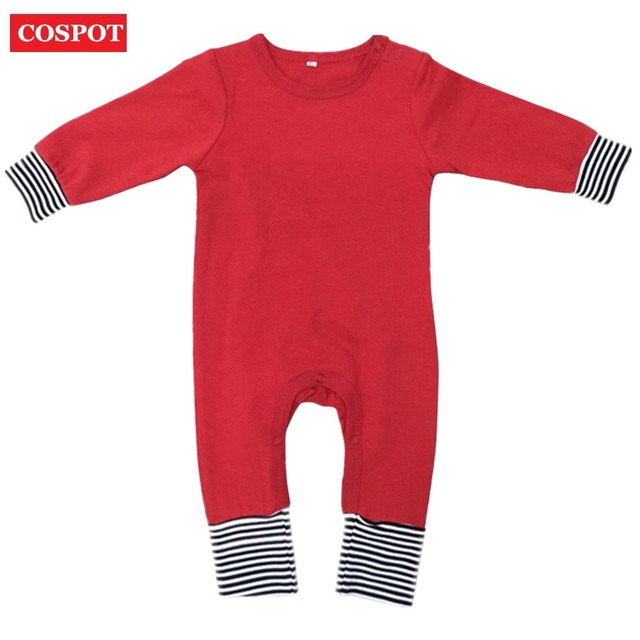 COSPOT Baby Boys Girls Christmas Romper Newborn Autumn Winter Pajamas  Toddler Kids Plain Red Black Cotton Jumpsuit 2019 New 25 48306ea98