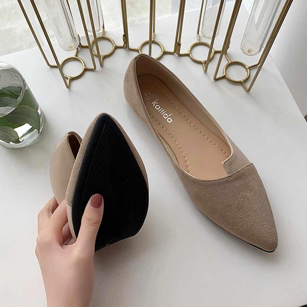 Ayakkabı kadın yaz yeni moda kadınlar Splice renk Flats moda sivri burun balerin bale düz üzerinde kayma rahat ayakkabılar
