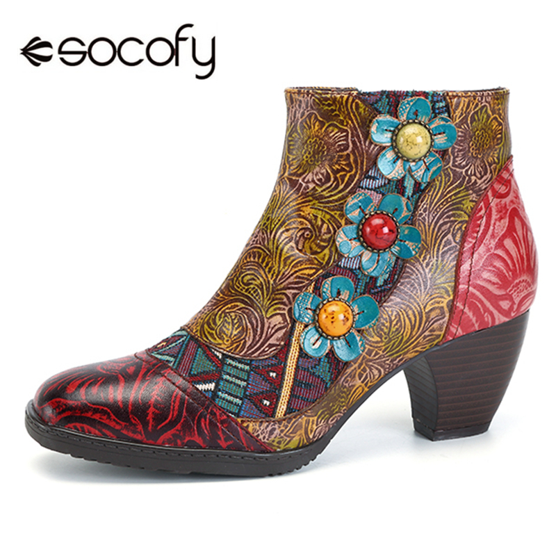 Socofy Vintage Bohemian Printed Winter Boots Women Shoes Woman Genuine Leather Splicing Handmade Flower Women Ankle Boots Botas attractive splicing strapless flower embroidery women s corset