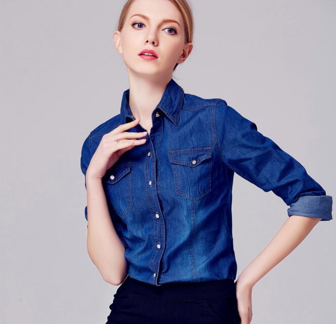 Camisas de los pantalones vaqueros Mujeres de La Moda de Primavera y Otoño de Ma