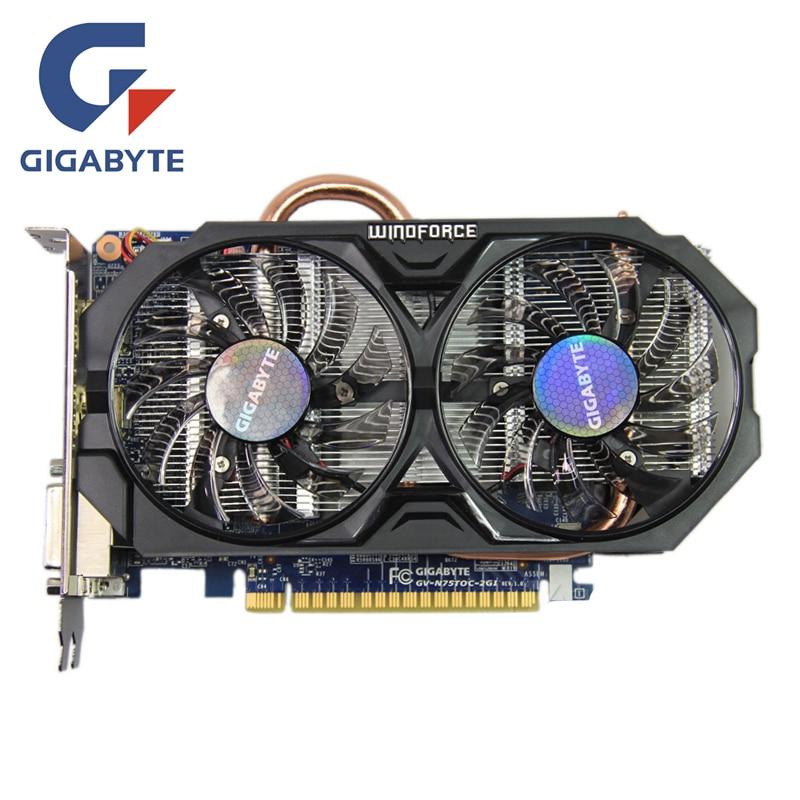 GIGABYTE GTX 750Ti 2 GB Vidéo Carte 128Bit GDDR5 GV-N75TOC-2GI GTX 750 Cartes Graphiques pour nVIDIA Geforce GTX750 Ti Hdmi Dvi cartes