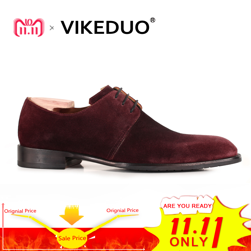 Vikeduo 2018 Handmade Hot Luxury Fashion Suede Designer Lace-up Party Dance Male Dress Shoes Genuine Leather Mens Derby Shoes цены