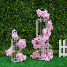 Sakura Cherry Rattan Wedding Arch decoration Vine Artificial flowers Home party hotel decor Silk Ivy wall Hanging Garland Wreath
