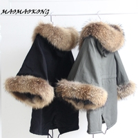 Women Winter Coat Jacket Raccoon Large Fur Collar Army Green Casual Overcoat Flare Sleeve Cloak Cotton padded Outerwear
