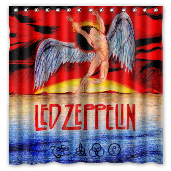 Customized Waterproof Bathroom Led Zeppelin Shower Curtain Polyester Fabric Bath With 12 Hooks 180180cm