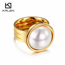 Kalen Dubai Gold Color Stainless Steel Rings Simulated-Pearl Classic Lovely Princess High-end Lady Women Wedding Rings Accessory