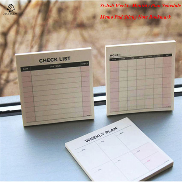 Stylish 60 Pages Weekly Monthly Plan Schedule Korean Stationery Memo Pad  Sticky Note Bookmark Pads School Office Supply