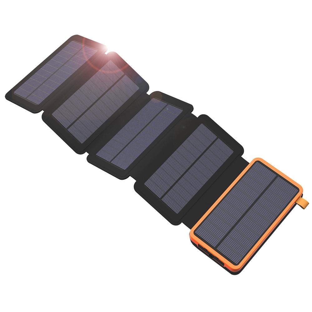 20000 mAh Solar Power Bank Dual USB Carregador de Energia De Bateria Externa Carregador Solar À Prova D' Água com Luz LED para Smartphone