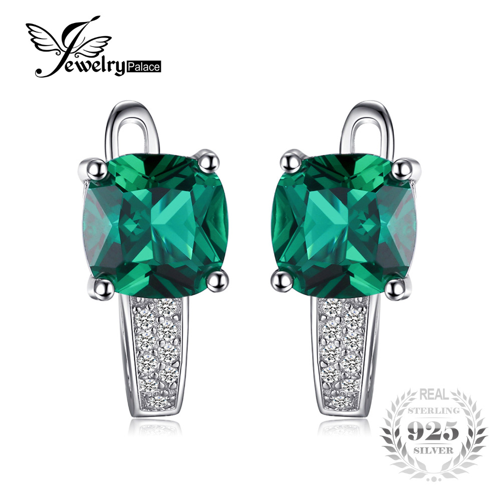 JewelryPalace Cushion 3 1ct Created Green Emerald Clip Earrings 100 Real 925 Sterling Silver Charms Fine