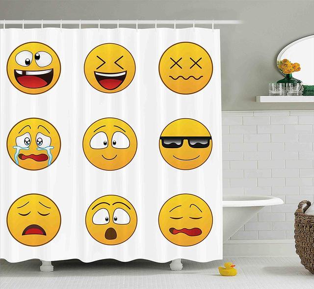 13 78 43 De Réduction Emoji Rideau De Douche Heureux Smiley En Colère Furieux Triste Visage Expressions Avec Lunettes Humeurs Dessin Animé Comme