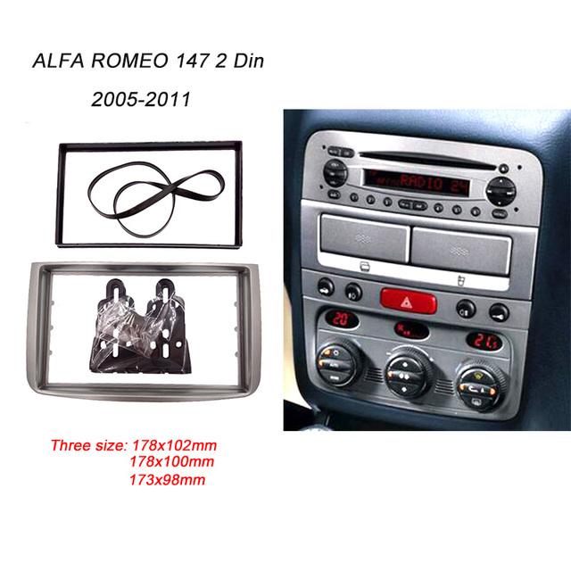 Fascia Para ALFA ROMEO 147 de Rádio DVD Painel CD Stereo Traço Double 2 Din Facia Instalação Montagem Bezel Kit Guarnição Quadro Rosto