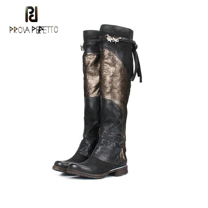Prova Perfetto Для женщин Ботфорты смешанные Цвет без каблука Мартинсы осень-зима женские сапоги до бедра толстая подошва обувь