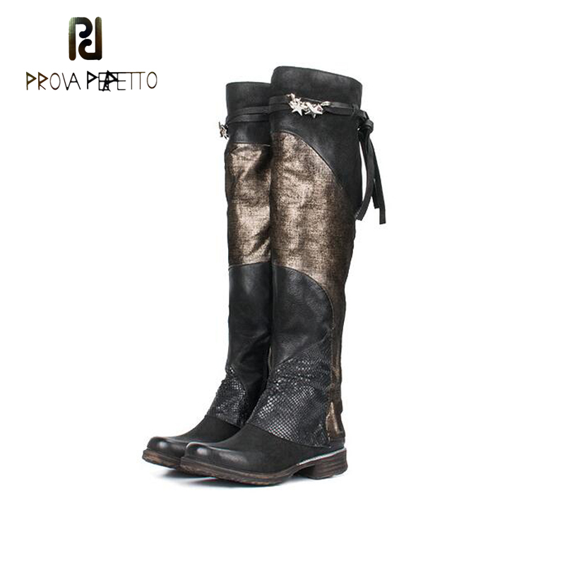 Prova Perfetto Women Over the Knee Boots Mixed Color Flat Martin Boot Autumn Winter Female Thigh High Boots Thick Bottom Shoes prova perfetto autumn winter new genuine leather low heel women mid calf boots round toe thick bottom comfortable martin boots