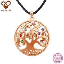ca4156c40ff9 AIJAJA Collar y Colgantes de Plata de Ley 925 Árbol de La Vida de Mamá  Personalizada