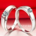 Xmas wholesale SONA simulate diamond ring 18k white gold Cover engagement sapphire ring his and her promise eternal lover