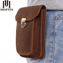 Infits 2019 novo couro genuíno do vintage pacotes de cintura homens viagem fanny pacote cinto loops hip bum saco da cintura bolsa do telefone móvel