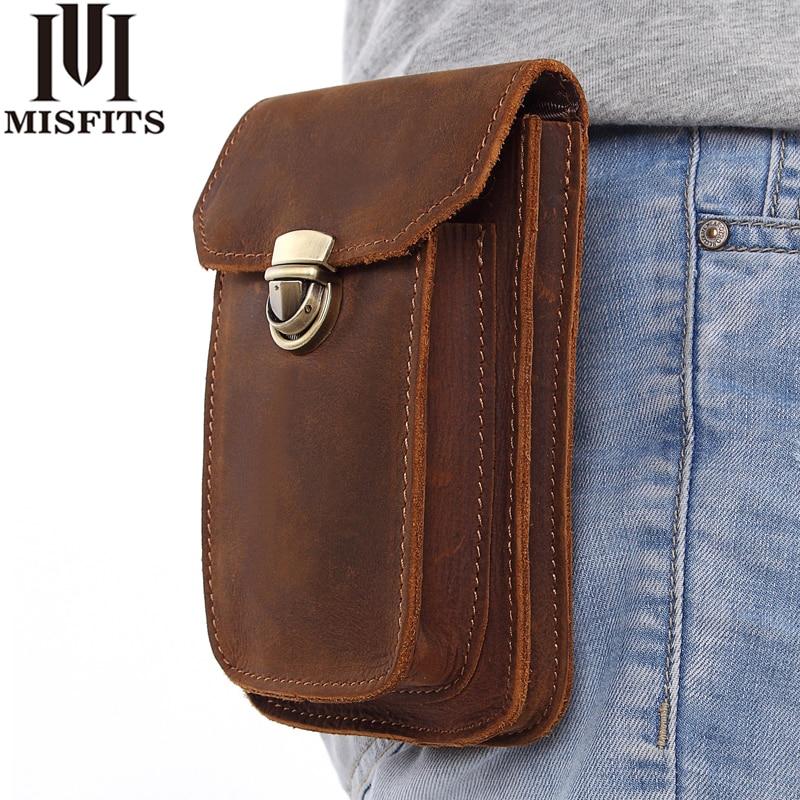 MISFITS 2018 NEW Genuine Leather Vintage Waist Packs Men Travel Fanny Pack Belt Loops Hip Bum Bag Waist Bag Mobile Phone Pouch цены