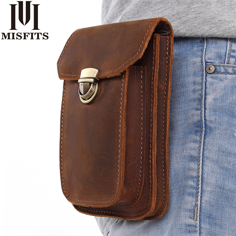 MISFITS 2019 NEW Genuine Leather Vintage Waist Packs Men Travel Fanny Pack Belt Loops Hip Bum Bag Waist Bag Mobile Phone Pouch