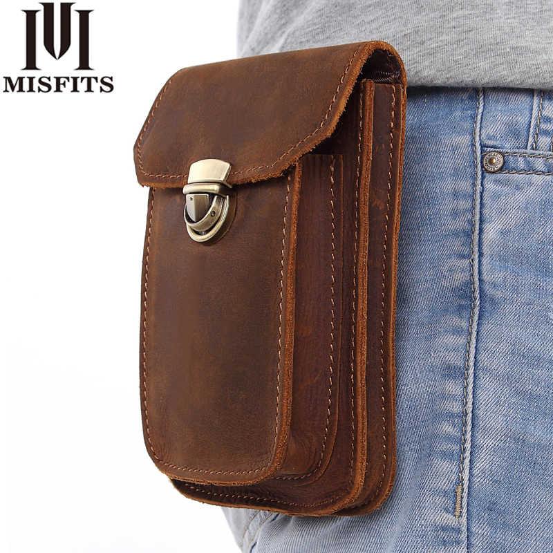 Misfit 2019 جديد جلد طبيعي خمر الخصر حزم الرجال السفر حزمة مراوح حلقات حزام الورك محفظة تربط حول الخصر الخصر حقيبة الهاتف المحمول الحقيبة