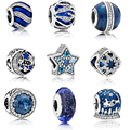 New Real 100% 925 silver Charm Blue Starry sky RADIANT HEARTS MURANO GLASS Bead Fit Original pandora Bracelet Bead DIY Jewelry