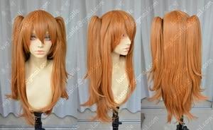 Image 2 - Anime EVA Asuka Langley Soryu Lange Orange Mit 2 Pferdeschwanz Clips Hitze Beständig Haar Cosplay Kostüm Perücke + Headwear Haripin