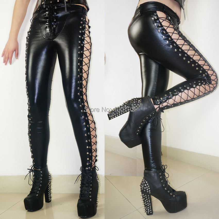 New Fashion Hot Women Laced Up Punk Rock Leggings Heavy Metal Two Side Studded Faux Leather Pants 212
