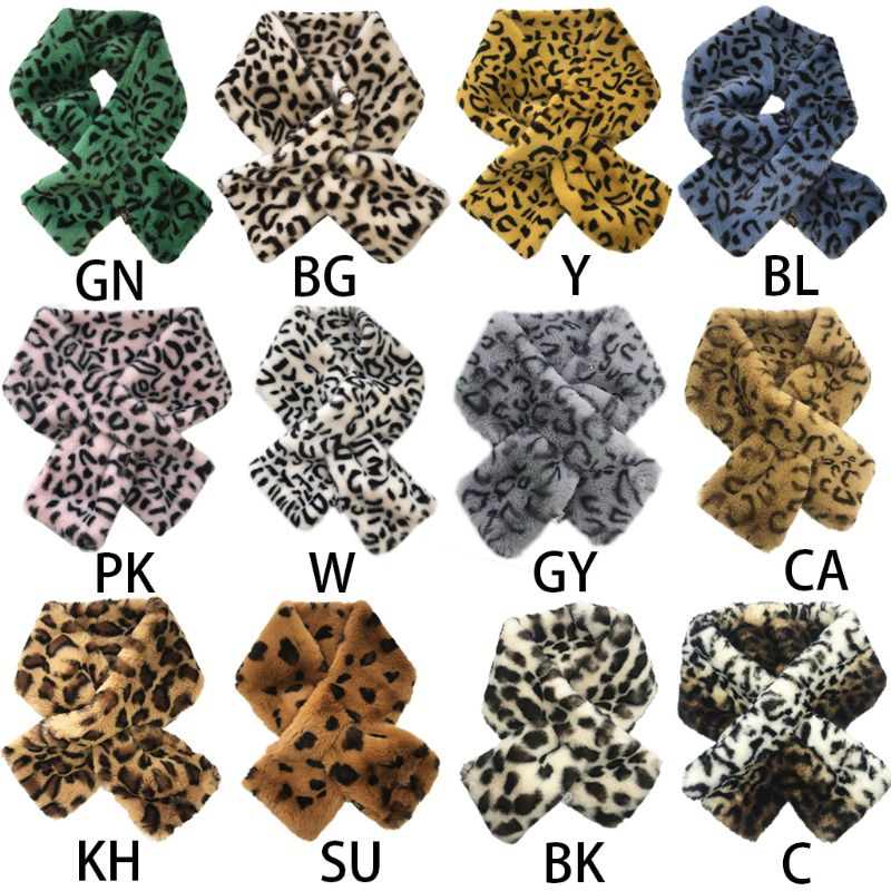 12x80cm Women's Winter Fake Faux Fur Leopard Print   Scarf     Wrap   Collar