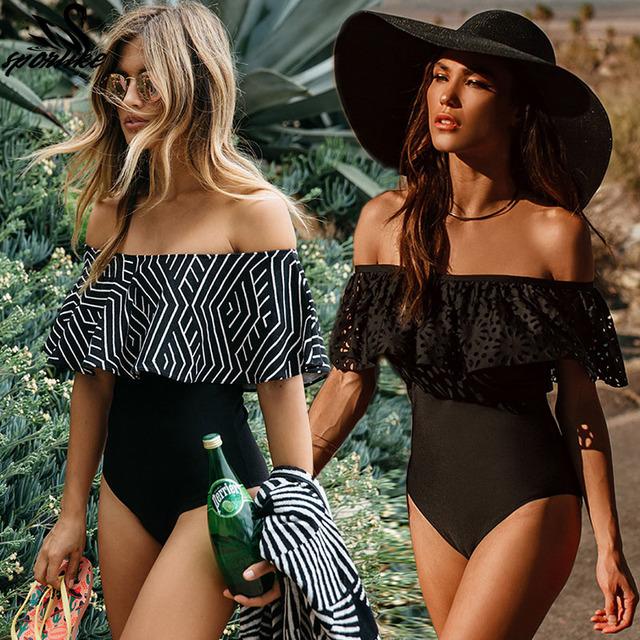 2018 New Sexy Off The Shoulder Solid Swimwear Women One Piece Swimsuit Female Bathing Suit Ruffle Monokini Swim Wear XL