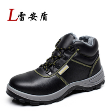 fashion black genuine leather steel toe cap work safety ankle boots men fur spring autumn winter snow shoes big size warm sapato